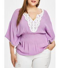plus size elastic waist butterfly sleeve blouse