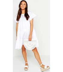 maternity broderie anglaise smock dress, white