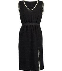 black sleeveless pearl detail tweed dress