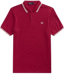 fred perry m3600 twin tipped polo shirt - claret & snow white m3600-d75
