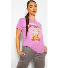 washed arizona rock slogan t-shirt, mauve
