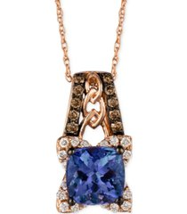 blueberry tanzanite (1-3/8 ct. t.w.) and diamond (1/3 ct. t.w.) pendant necklace in 14k rose gold, created for macy's