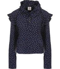 polka dot biker blouse blue
