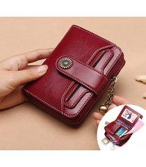 portafoglio da donna in vera pelle retro bifold piccolo con portamonete