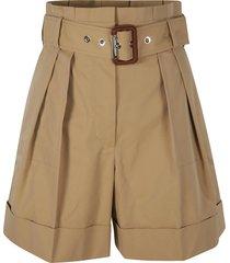 alexander mcqueen belted waist pleat detail shorts