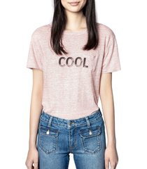 women's zadig & voltaire amber linen graphic tee, size small - pink