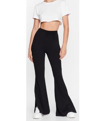 womens flare you at high-waisted split hem pants - black