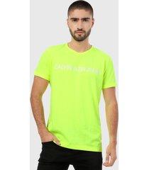camiseta amarillo neón-blanco calvin klein