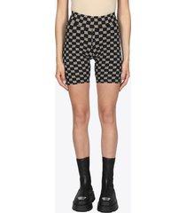 misbhv shorts in lycra stretch nero con logo pattern