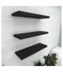 kit 3 prateleiras para banheiro em mdf suporte inivisivel preto 60x20cm modelo pratbnp30