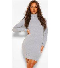 mini bodycon jurk met col en lange mouwen, grey marl