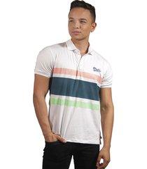 camiseta polo hombre manga corta slim fit blanco marfil lines