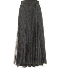 brunello cucinelli windowpane tulle pleated skirt