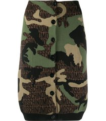moschino camouflage knitted pencil skirt - green