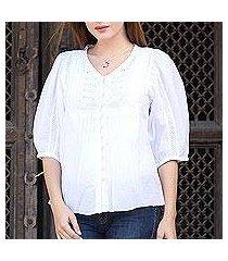 cotton blouse, 'snow white beauty' (india)