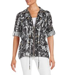 animal print drawstring jacket