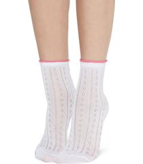 calzedonia fancy socks with openwork pattern woman white size tu