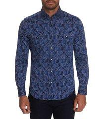robert graham men's schmidt printed sport shirt - navy - size s