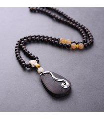 moda gioielli etnici internazionali collana di perline in legno d'epoca legno fascino collane per le donne