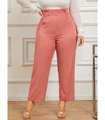 pantalones de diseño con cremallera de talla grande yoins