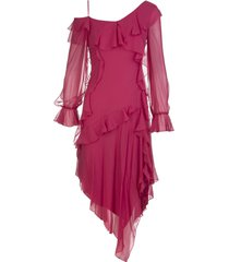 blumarine midi asymmetrical cherry red silk dress with ruffles