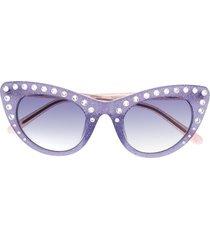 nº21 crystal-embellished cat-eye sunglasses - green
