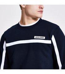 mens jack and jones navy tape sweatshirt