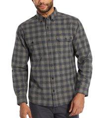 wolverine men's glacier midweight long sleeve flannel shirt gunmetal plaid, size m
