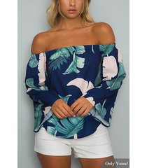 navy off-the-shoulder floral print flared sleeves top with tie
