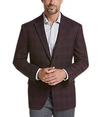 awearness kenneth cole wine plaid slim fit sport coat
