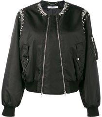 givenchy rhinestone embellished bomber jacket - 001black