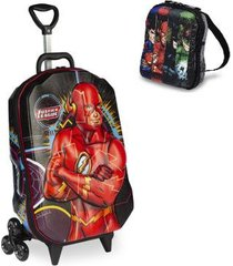 kit mochila liga da justiça the flash 3d com rodinhas+ lancheira maxtoy