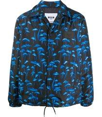 msgm mushroom-print shirt jacket - blue