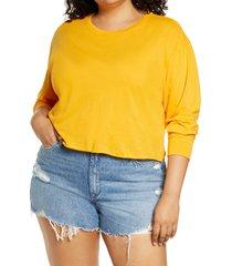 plus size women's bp. crop long sleeve graphic tee, size 2x - orange
