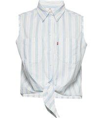 alina tie shirt amber stripe c blus ärmlös vit levi´s women