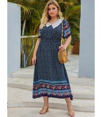 plus talla azul marino tira elástica tribal mangas cortas vestido