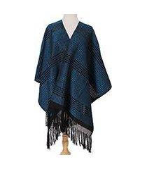zapotec cotton rebozo shawl, 'turquoise dimension' (mexico)