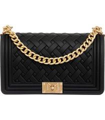 marc ellis flat braid m shoulder bag in black pvc
