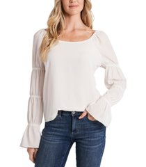 cece square-neck tiered puff-sleeve top