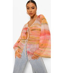 natuur print blouse met strik, peach