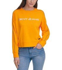 dkny jeans bead-trim logo sweatshirt