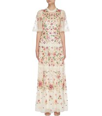 'trellis rose' floral embroidered cape sleeve gown