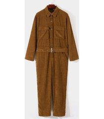 men autumn fashion retro long sleeve corduroy overalls jumpsuit