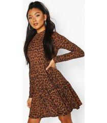 long sleeved ribbed smock mini dress, brown