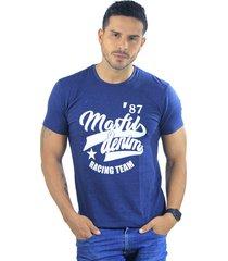 camiseta hombre manga corta slim fit azul marfil racing