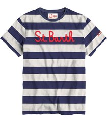 boy striped embroidered writing in front t-shirt