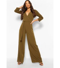 tall geweven jumpsuit met ceintuur, kaki