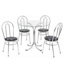 conjunto de mesa de jantar com tampo de vidro e 4 cadeiras ametista corino cromado e preto