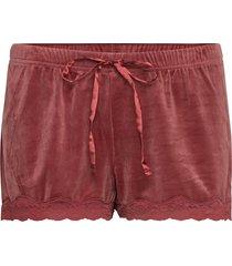 short velours scallop lace shorts röd hunkemöller