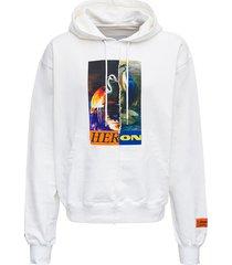 heron preston white cotton hoodie with print